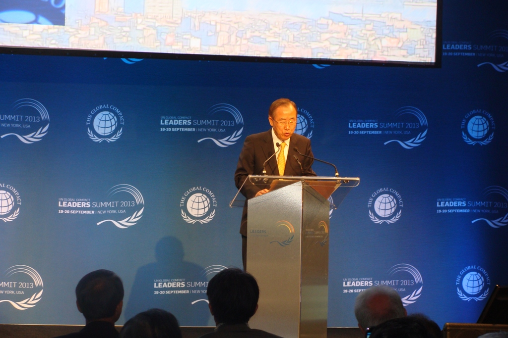 ban kimoon at united nations global compact leader summit meeting